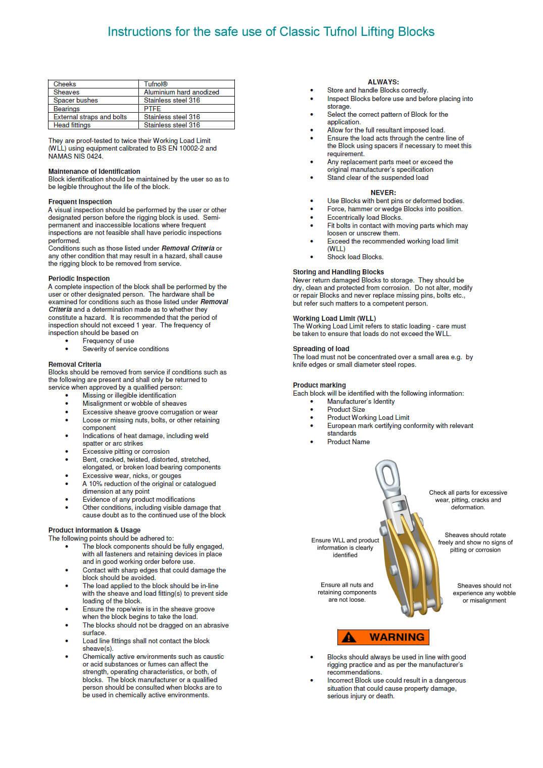 Tufnol Lifting Blocks - CE certified and stamped. Integral becket ...