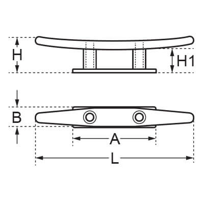 Low Flat Cleat - 2 Hole - Diagram