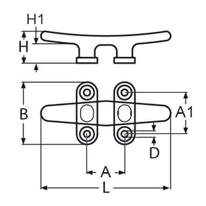 Low Flat Cleat - 4 Hole - Diagram