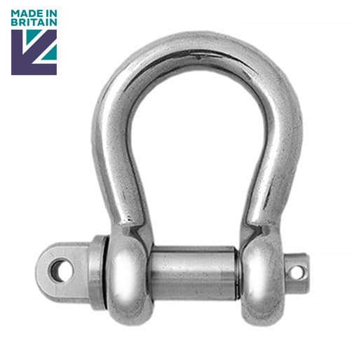 Stainless Steel Lifting Bow Shackle - PH High Tensile - Long Safety Pin