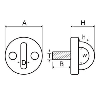 Round Eye Deck Plate Stud  - Dimensions