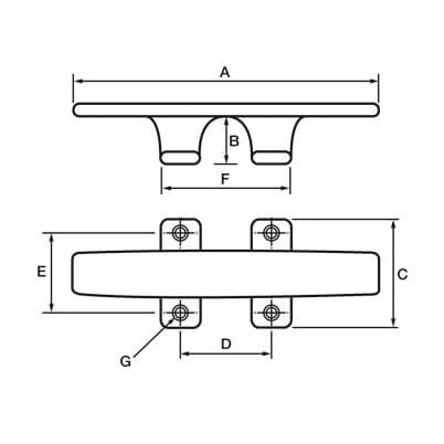 Sheerline Cleat with Slim Base - Diagram