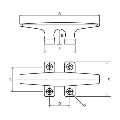 Sheerline Cleat with Wide Base - Diagram