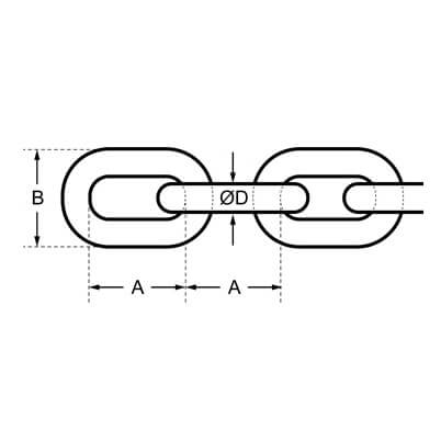316 Grade Stainless Steel Short Link Chain Diagram