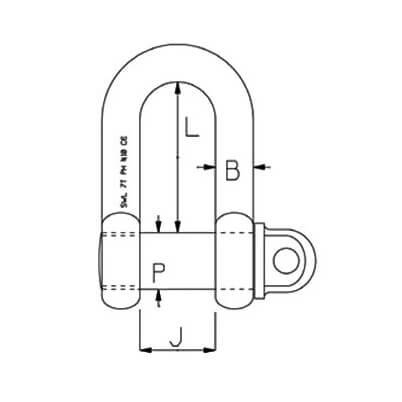 Stainless Steel D Shackle - Super Duplex Diagram