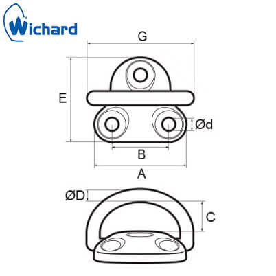 Wichard Folding Pad Eye - Diagram