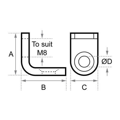 Small Angle Bracket Dimensions- Posilock Display System