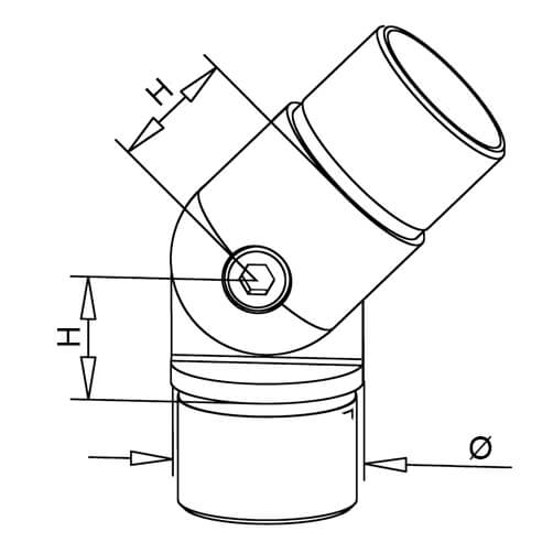 Tube Connector - Adjustable Elbow - Dimensions