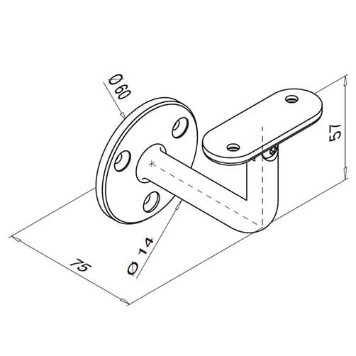 Adjustable Curved Flat Fixing Handrail Bracket For Modular Stainless Steel Balustrade - Diagram