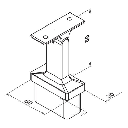 Adjustable Flat Handrail Saddle - Dimensions