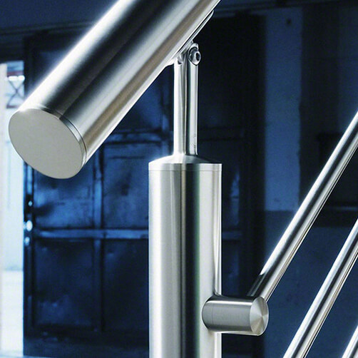 Adjustable Handrail Saddle - Tube - Modular Stainless Steel Balustrade - Example