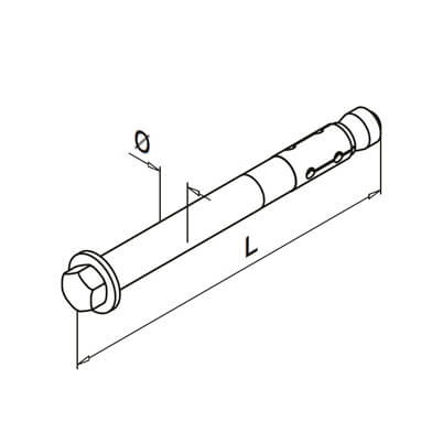 Anchor Bolt with Hexagon Head - Dimensions