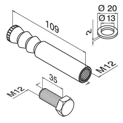 M12 Anchor Bolt With Inside Thread - Dimensions