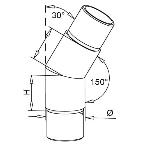 Flush Angle Tube Connector - 30 Degree Elbow - Dimensions