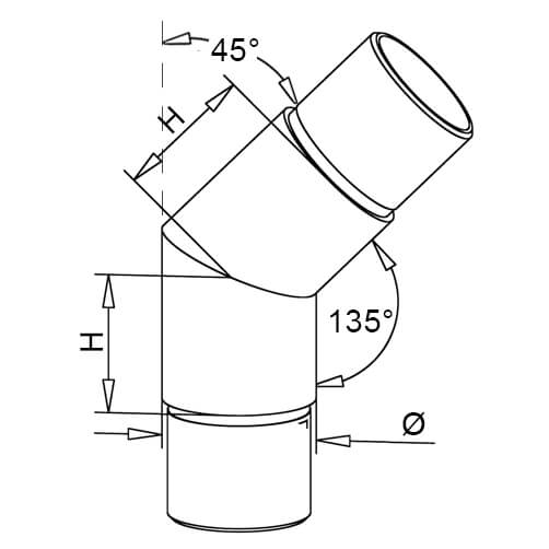 Flush Angle Tube Connector - 45 Degree Elbow - Dimensions