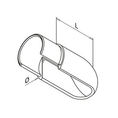Angled Glass Channel Handrail End Cap - Diagram