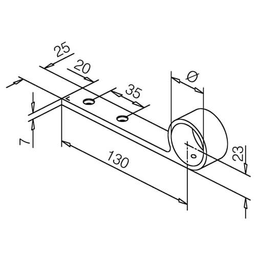 Arm Rail Bracket - Bar Railing - Dimensions