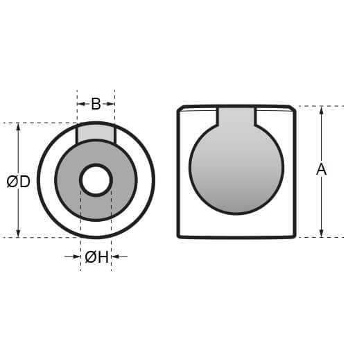 Ball End Socket - Flat Mount - Dimensions