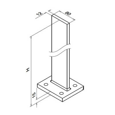 Baluster Post - 1040mm - Dimensions