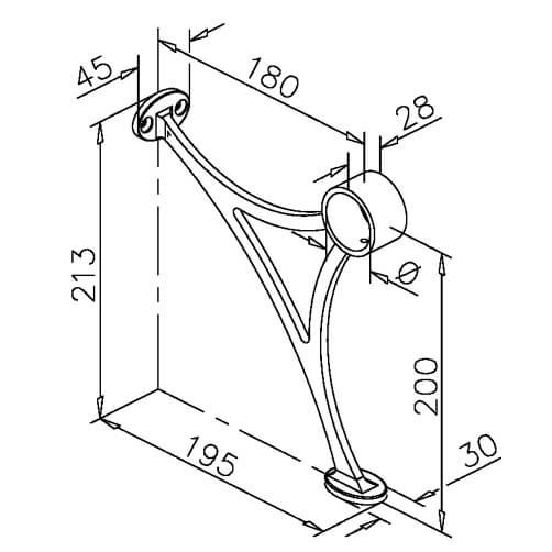 Bar Foot Rail Bracket - Combination Mount - Dimensions