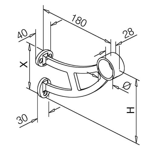 Bar Foot Rail Bracket - Angle Stem - Bar Mount - Dimensions