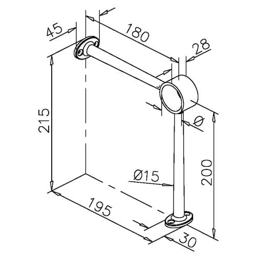 Bar Foot Rail Bracket - 90 Degree Combination Mount - Dimensions