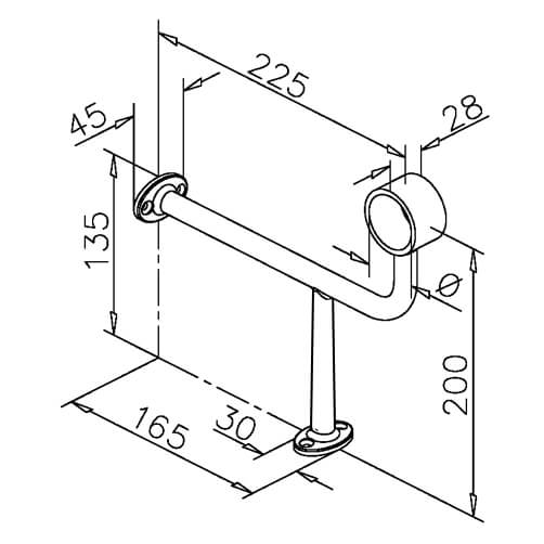 Bar Foot Rail Bracket - 90 Degree Offset - Dimensions