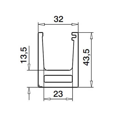 Base Channel Mounting Profile - Dimensions