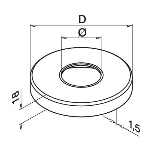 Cover Cap for Tubular Floor Glass Clamp - Dimensions