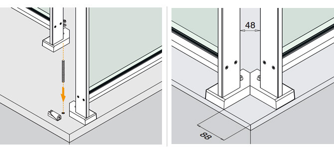 Corner Base Flange Position - Easy Alu Balustrade