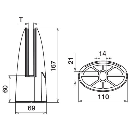 Stainless Steel Oval Floor Mounting Base Glass Clamp Diagram