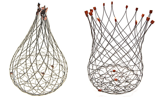 Flexible wire baskets by Geraldine Jones
