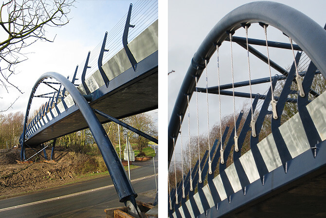 Stainless Tie Bar and Tension Wire Assemblies on Bridge at Biddulph