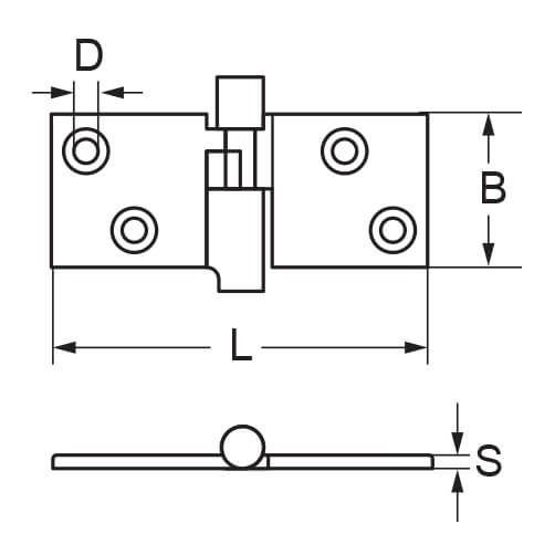 Box Hinge - 4 Hole - Dimensions