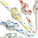 8mm, White Fleck, Braid on Braid Polyester Rope - High Strength Flexible Cruising Rope