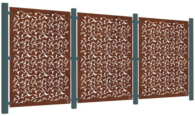 Branches Decorative Garden Screen Kit - Corten Steel