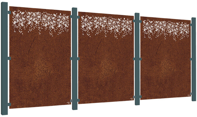 Burst Decorative Privacy Screen Kit - Corten Steel