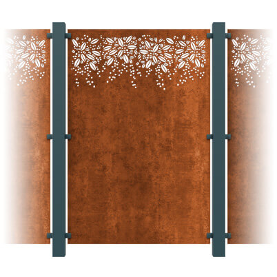 Burst Decorative Garden Screen Kit - Corten Steel
