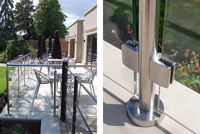 Stainless Steel Glass Clamps - Mount Pleasant Hotel