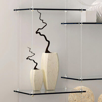 Horizontal Cable Display Support with Glass Shelving