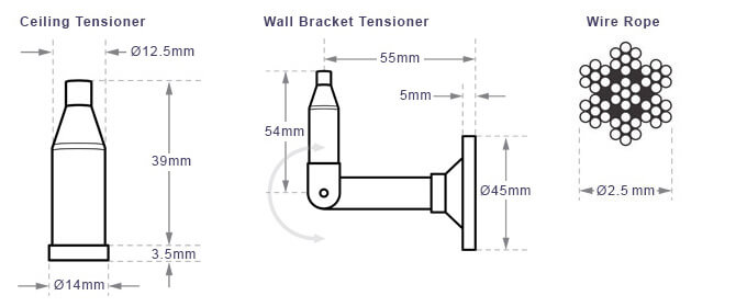 Cable Display Kit Ceiling to Wall - Dimensions