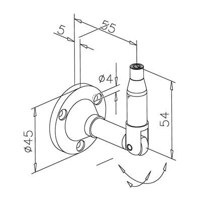 Cable Display Tensioner - Wall Bracket - Dimensions