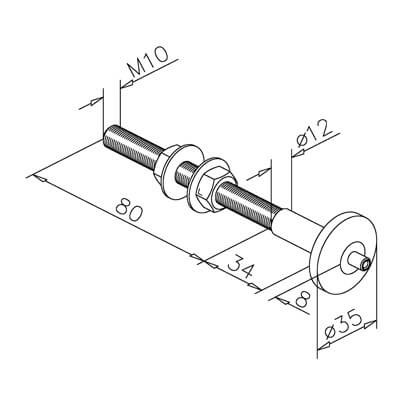 Cable Display Tensioner - Ceiling Mount - Dimensions