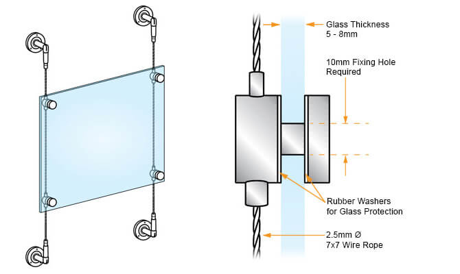 Cable Display - Vertical Glass Support