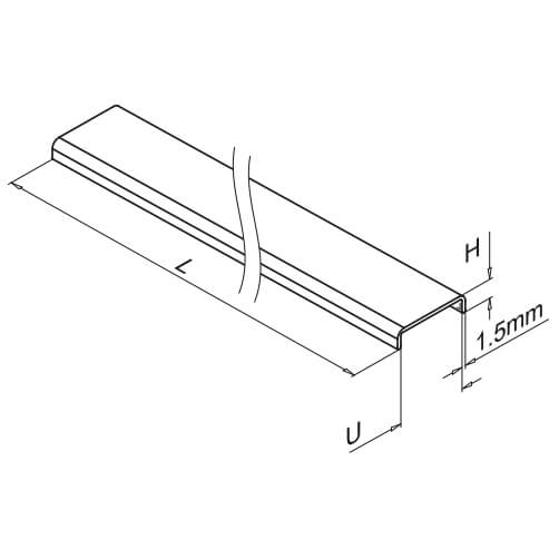 Glass Cap Rail - Aluminium - Dimensions