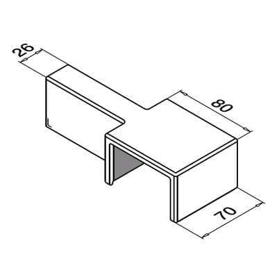 Cap Rail Connector - 65mm x 40mm - Dimensions
