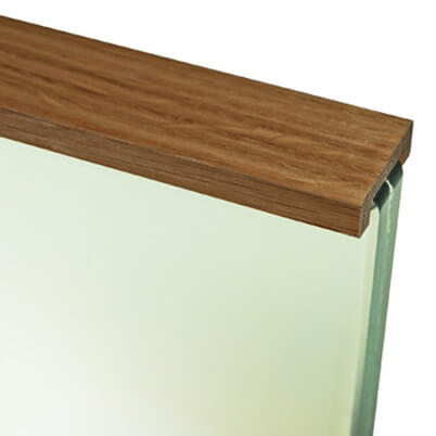 Glazed Oak Cap Rail on Glass