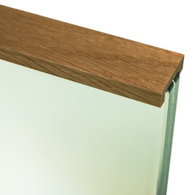 Oak Cap Rail on Glass