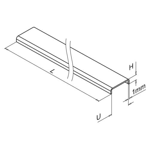 Glass Cap Rail - Stainless Steel - Dimensions