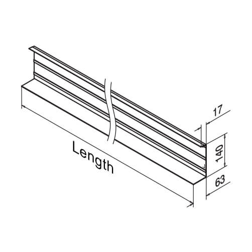 Cladding Profile - Fascia Mount - Dimensions